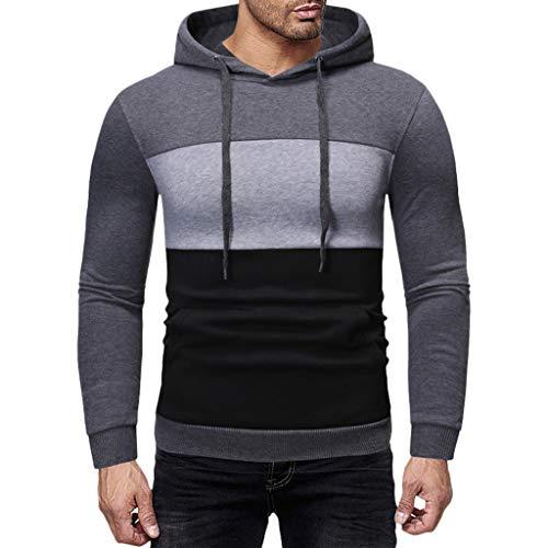 Men's Casual Pullover Hoodies Long Sleeve Hooded Sweatshirt ◆Elecenty◆ Langen Ärmeln Kapuzenpullover Sweatshirts Drawstring Sportbekleidung Outwear -