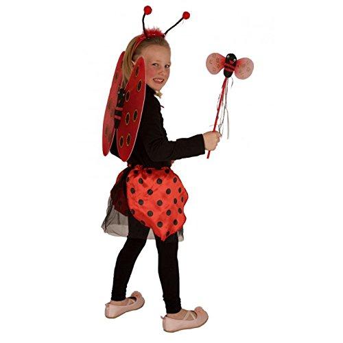 Kinderkostüm Marienkäfer für Mädchen mit Flügel, Haarreif, Zauberstab und Rock / Kostümset Lady Bug 3/5 (Kostüme Lady Bug Mädchen)