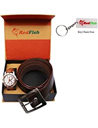 RedFish Men Analog Watch And Brown Belt Combo Set of 02 - (RDF-1003-CY)