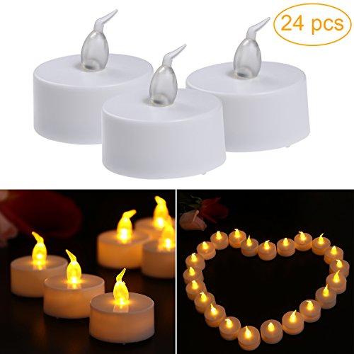 LEDMOMO Luz de té sin llama LED, velas de larga duración a pilas, paquete de 24 (luz de flash amarillo)
