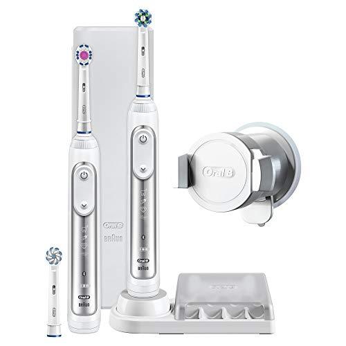 Oral-B Genius8900 Pack con 2 cepillos de dientes eléctricos, 3 cabezales de recambio y un estuche de viaje