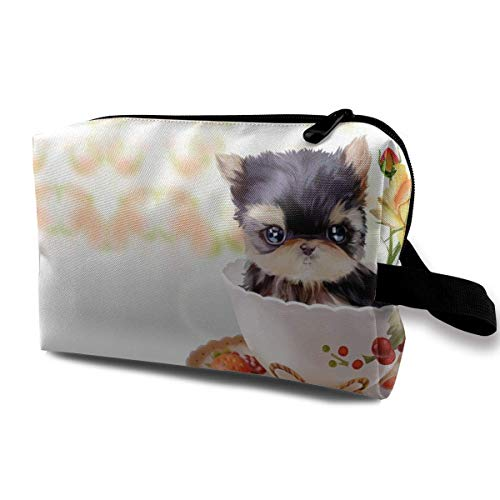 With Wristlet Cosmetic Bags Cup Dog Travel Portable Makeup Bag Zipper Wallet Hangbag