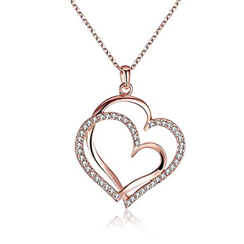 YEAHJOY Charm Women's Rose Gold Plated Double Heart Wrapped Shape