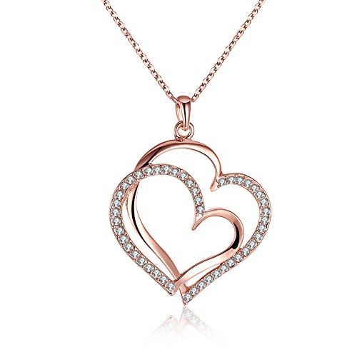 Rose gold pendant necklace amazon yeahjoy charm womens rose gold plated double heart wrapped shape pendant necklaces 18ct rose gold aloadofball Choice Image