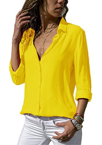eb1cb34aac192a ZC GF Damen Bluse Chiffon Elegant Langarm Oberteile Einfarbig V-Ausschnitt  Hemdbluse Asymmetrisch T-Shirt Top (Gelb