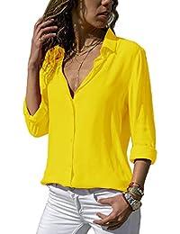 ZC GF Damen Bluse Chiffon Elegant Langarm Oberteile Einfarbig V-Ausschnitt  Hemdbluse Asymmetrisch T-Shirt 7bde2849c6