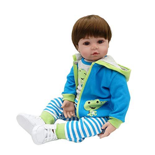 Meiqqm Babypuppe Weichkörper,26 Zoll Silikon Lebensechte Puppe Cartoon Krokodil Kleidung Streifen Hosen Mit Kapuze Mantel Schuhe Frühen Kindheit Kinder Baby Spielzeug