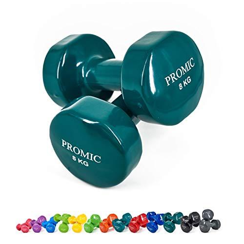 PROMIC Solid Hand Gewichte Deluxe Vinyl Hanteln mit einem rutschfesten Griff für Fitness Übung, Dunkelgrün 8kg, 2 x 8 kg