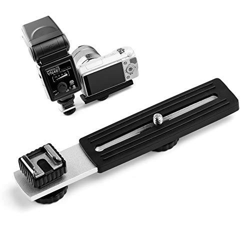 Fotover Horizontaler Kamerablitz Blitzhalterung Blitzschiene mit Blitzschuh mit 1/4'Schiebeschraube Studio Light Stand kompatibel...