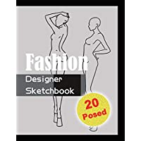 Fashion Designer Sketchbook - Black: 20 Figure sketch different posed template will easily create your fashion styles