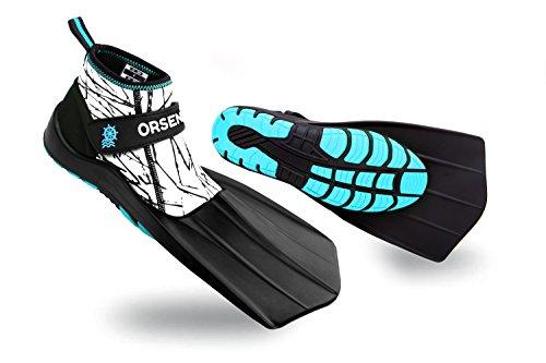 ORSEN Schnorchel Flossen Schwimmflossen schwimmtraining Tauchen Amphibien Schuhe Revolutionäres Design für Land &Wasser,Kompakte Reise für Erwachsene,Jungen
