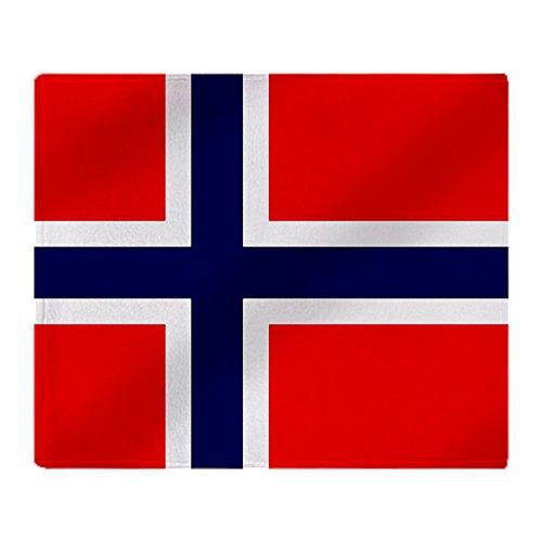CafePress Überwurfdecke mit Flagge von Norwegen 50x60 weiß