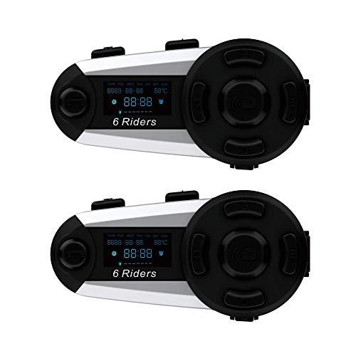 T20s Motorradhelm Intercom Unterstützung 6 Fahrer Pairing, Bluetooth Motorrad Headset Intercom Reichweite bis zu 1200 Meter mit LCD Bildschirm / FM Kommunikationssystem Motorrad Intercom(2 Stücke)