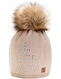 4sold Keep Calm Mütze Bommel Pompon Wurm Winter Style Bommelmütze mit Zopfmuster Beanie Strick Mütze mit Ponpon Damen Herren HAT HATS SKI Snowboard Strickmütze mit Fellbommel