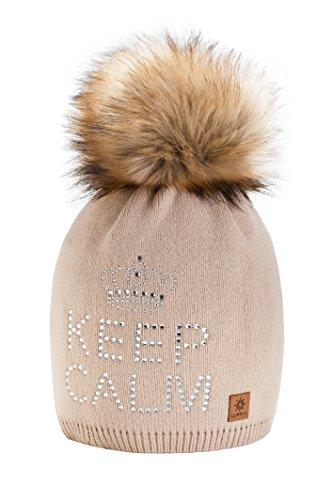 4sold keep calm donne inverno cappello di pelliccia maglia cappello di beanie pom-pom (beige)