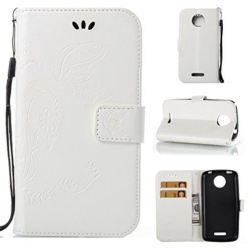 Guran® PU Ledertasche Case für Motorola Moto C Plus Smartphone Flip Cover Wallet und Stent-Funktions Hülle Geprägtes Schmetterling Muster Etui - Weiß