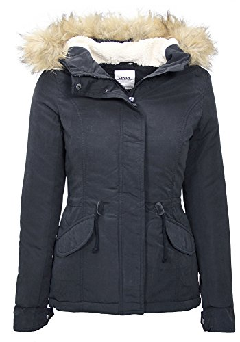 Only Damen Winterjacke Key Short Parka Jacket - 2 Farbe (S, Schwarz (Black))
