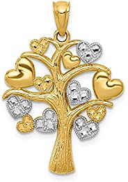 Beautiful rhodium plated gold and silver 14K 14K & White Rhodium Polished Hearts Tree Pen
