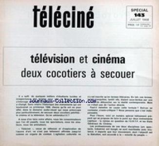 TELE CINE [No 143] du 01/07/1968 - TELEVISION ET CINEMA - 2 COCOTIERS A SECOUER. par COLLECTIF