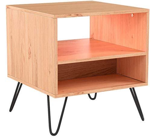 VonHaus Capri Side Table - Oak effect finish Retro for sale  Delivered anywhere in UK