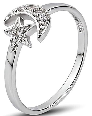 Beydodo 925 Sterling Silver Women's Promise Rings Star Moon Polish Size K 1/2 White