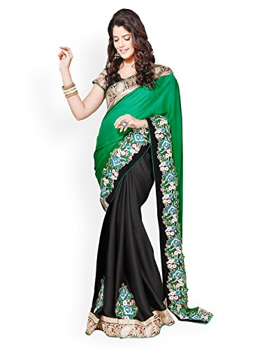 Chirag Sarees Crepe Saree in Green Black Colour for Party Wear