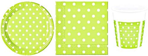 rainbowFUN.de Partyset Dots - 36 Teile; hellgrün, weiß; 8 Pappteller, 8 Plastikbecher, 20 zweilagige Servietten; Partygeschirr (Pappteller Hellgrün)