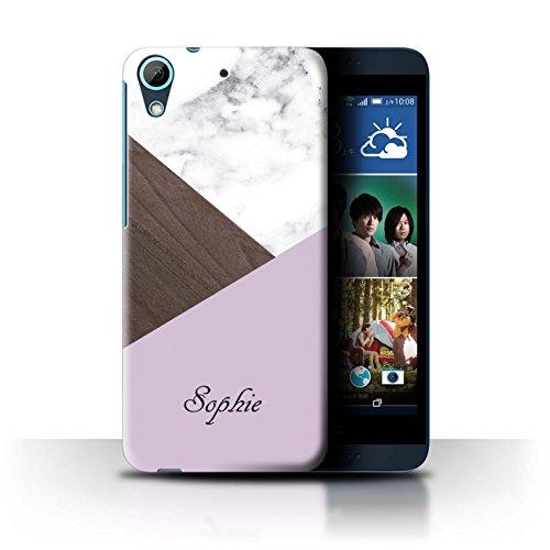 Personalisiert Individuell Holz/Marmor Hülle für HTC Desire 626G+ / Rosa Dunkles Hölzern Design / Initiale/Name/Text Schutzhülle/Case/Etui