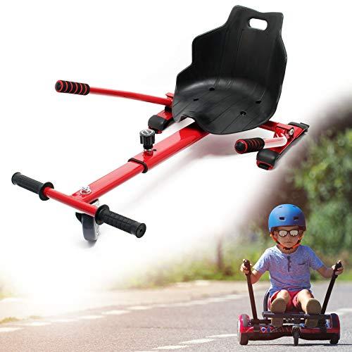 WilTec Sitzscooter in Rot, Verstellbarer Kartsitz für Elektroscooter bis 120 kg