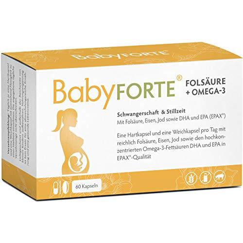 BabyFORTE Folsäure + Omega-3 - Vitamine Schwangerschaft & Stillzeit - 60 Kapseln - reines Fischöl EPAX® Qualität - Hergestellt in Deutschland