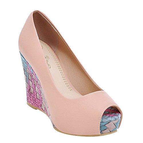 79adfe2da7a30e Mee Shoes Damen Peep toe Keilabsatz Plateau Pumps Pink