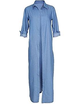 AILIENT Abrigos Largo Mujer Vaquera Casual Manga Larga Cardigan para Mujer Coat Clasicos Outwear Hipster