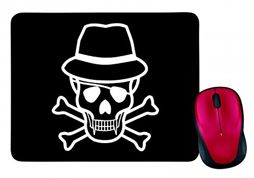 "Preisvergleich Produktbild Mauspad ""GEKREUZTEN KNOCHEN- HUT- JOLLY ROGER- SCHÄDEL- SKULL CROSSBONES- TOTENKOPF"" in Schwarz | Mousepad - Mausmatte - Computer Pad - Mauspad mit Motiv"