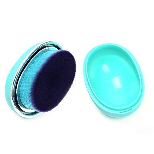 Gespout Pinceau de Maquillage Professionnel pour Visage Nylon Poignée en Plastique Fond de Teint Poudre Blush Facile à transporter(Vert)
