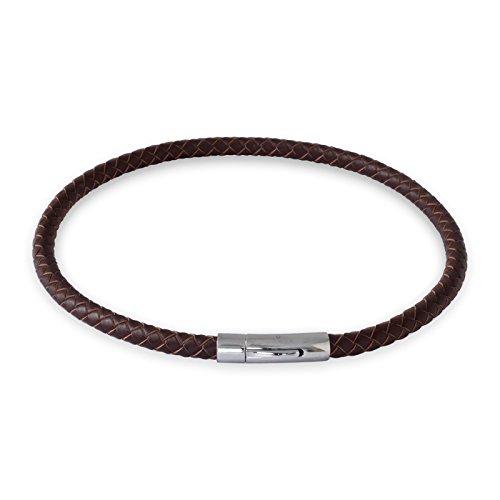 Fly Style Herren Damen Hals-Kette Leder-Kette Arm-Band geflochten Braun 18-70 cm (Länge 18 cm-Stärke 6mm) nest011_brown (Leder Armband 6mm)