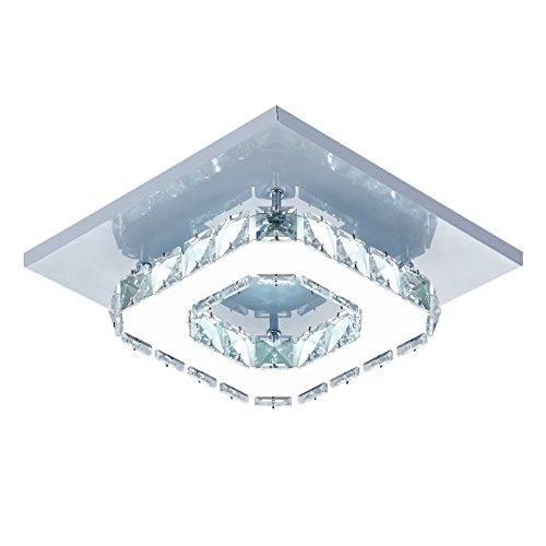 Egomall Lámpara de techo de cristal Lámparas de techo Espejo de acero inoxidable LED 12W moderna lámpara de cristal para sala de estar, dormitorio