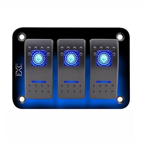 Globalflashdeal 12V-24V-3-Gang-Dual-LED-Licht-Rocker-Switch-Panel-Bar-Car-Caravan-Boot-Rv-Blue -