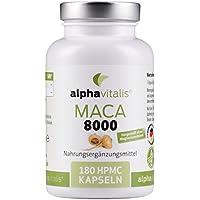 Maca Gold 8000 – 180 Maca Kapseln 20:1 Extrakt - vegan - ohne Magnesiumstearat - hochdosiert und in Premiumqualität - 6 Monate Versorgung EINWEG