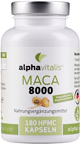 Maca Gold 8000 - 180 Maca Kapseln 20:1 Extrakt - vegan - ohne Magnesiumstearat - hochdosiert und in Premiumqualität - 6 Monate Versorgung EINWEG -