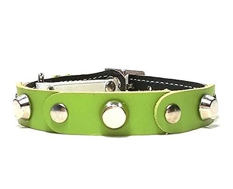 Leder Katzen-halsband mit Elastisch Sicherheitsverschluss | Schönes Grün Braun Leder mit Nieten