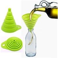 MFEIR® La cucina silicone pieghevole imbuto imbuto multifunzione portatile pieghevole ad alta temperatura retrattile Verde