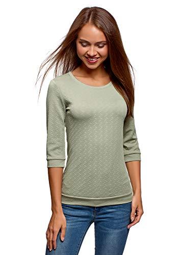 oodji Ultra Damen Sweatshirt mit Rundem Ausschnitt und 3/4 Arm, Grün, DE 42 / EU 44 / XL