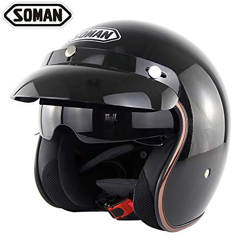 Motorrad-Harley Helmet Retro-Stil Safety Half Helm Built-in Retractable Lens Anti-Glare Protection Vision für vier Jahreszeiten Unisex (Schwarz/Matte Black),Black,L