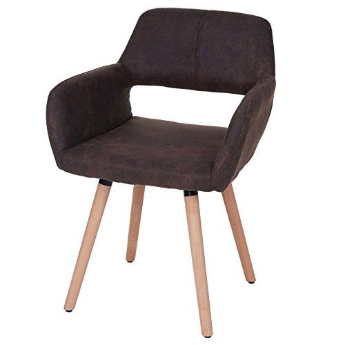 Chaise de salle à manger HWC-A50 II, fauteuil, design rétro des années 50 ~ tissu, marron foncé