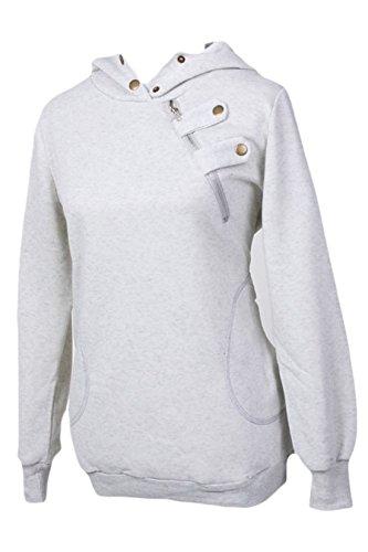 Premium Basic Zip (erdbeerloft - Damen Kuscheliger Hoodie mit Zip Detail, Hellgrau, Größe S)
