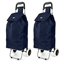 Set of 2 Hoppa 23inch 2 Wheel Lightweight Wheeled Shopping Trolley Shopper Cart, Large 47L Navy