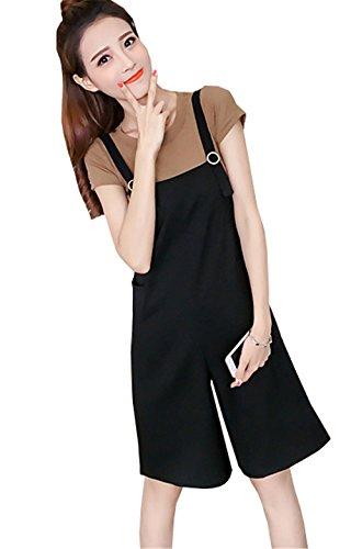 JOTHIN 2017 Donna Estive Corea Eleganti Maniche corte T-shirt Pantaloni da lavoro due Pezzi Tinta Unita Magliette straight solopette Pantalone 2 Pezzi Nero