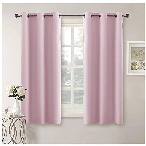 Pony dance tende bambini cameretta rosa drappeggi moderni decorazione da interni casa piccole finestre camera ragazze salotto tessuti termiche morbidi (106 x 158 cm, 2 pezzi)