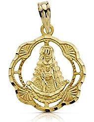 Medalla oro 18k Virgen Rocío pandereta 20mm. calada [AA7421]