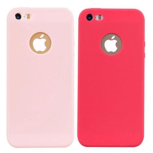 2x Cover iPhone 5 / 5S / SE,ZHXMALL Custodia iPhone 5 / 5S / SE Silicone Colore Candy TPU Flessibile Morbido Ultra Sottile Leggero Gel Gomma Cassa Protettiva Anti-urto Anti-Graffio Cellulari Protezion Rosa + Rosso